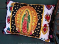 Virgen de Guadalupe Pillow Sacred Hearts by RanchoRomantico