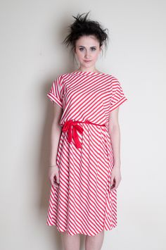 true love dress - vintage 1980s red and white striped dress    (model brittany north, photog Ken Driscoll, hair Holly Burnham, makeup Jen Tanko)