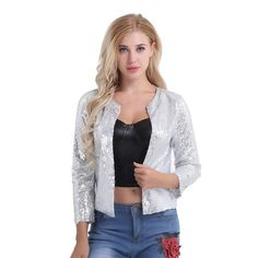 803892ab2f3 FEESHOW Women Cardigan Jacket Sparkle Sequin Bling Long Sleeve Sweaters  Short Tops