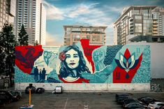 """I just finished painting one of my largest murals in LA. This """"Defend Dignity"""" mural is meant to inspire sensitivity toward our fellow… Best Street Art, Amazing Street Art, Graffiti Art, Monet, Pizza Art, Street Mural, Art Courses, Stencil Art, Public Art"""