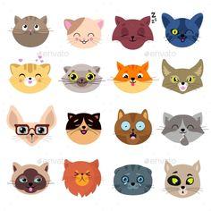 Illustration of Fun cartoon cat faces. Cartoon cats animal face illustration vector art, clipart and stock vectors. Cat Face Drawing, Drawing Cartoon Faces, Cute Kittens, Cats And Kittens, Funny Cat Faces, Cute Cat Face, Face Fun, Cartoon Cartoon, Kitten Cartoon
