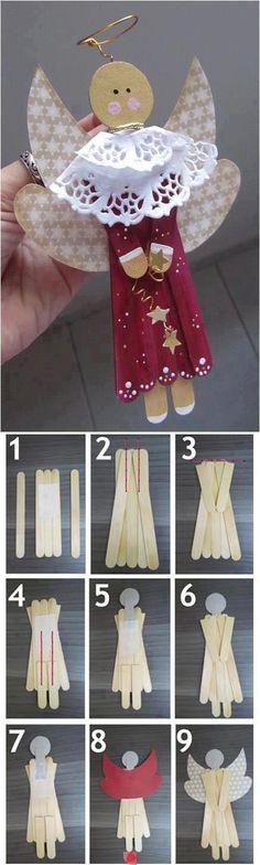 Reciclagem e Sucata: Anjinho para o Natal feito de palito de picolé