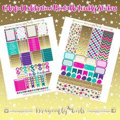 50% Off DIY Colorful Celebration Printable Planner Stickers Mini Kits pdf 2 jpeg Erin Condren Life Planner Filofax MAMBI Color Crush
