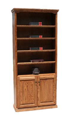 "OD Traditional Oak Bookcases with Lower Doors 36"" W, 13"" D in heights 72"" & 84"""