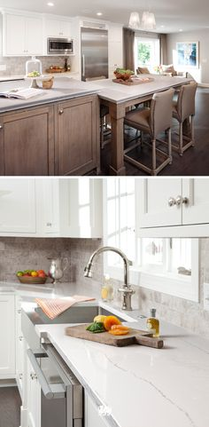 Two tiered islands, deep kitchen sinks and our Ella quartz countertop design from our marble collection make make cleaning up a breeze. Small Farmhouse Kitchen, Kitchen Dinning, Modern Farmhouse Kitchens, Cool Kitchens, Kitchen Sinks, Dining, Kitchen Cabinet Styles, Kitchen Models, Kitchen Trends