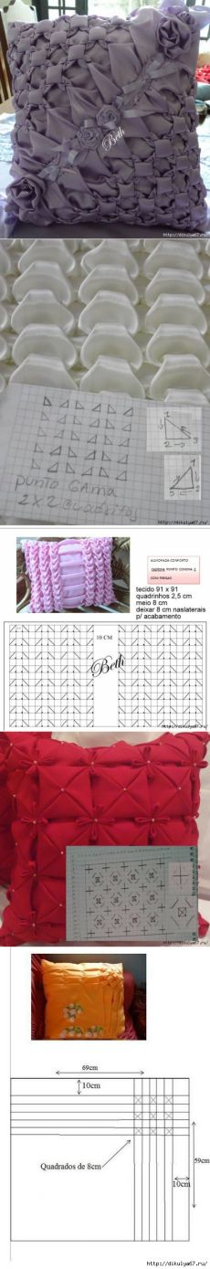 passionforum.ru Smocking Tutorial, Smocking Patterns, Sewing Patterns, Sewing Art, Sewing Crafts, Sewing Projects, Diy Pillows, Decorative Pillows, Fabric Manipulation Techniques