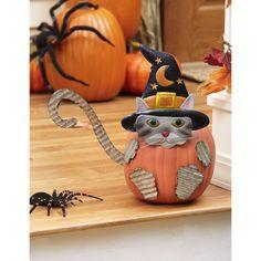 Easy Halloween Crafts, Halloween Cat, Fall Crafts, Halloween Pumpkins, Wooden Pumpkins, Painted Pumpkins, Cat Pumpkin, Pumpkin Carving, Halloween Ideas