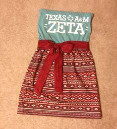 Sorority Game Day Dress Texas A&M Zeta Custom Order by CheerItUp, $45.00