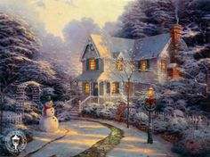 Thomas Kinkade The Night Before Christmas painting is available for sale; this Thomas Kinkade The Night Before Christmas art Painting is at a discount of off. Thomas Kinkade Art, Thomas Kinkade Christmas, Thomas Kinkade Disney, Christmas Scenes, Christmas Pictures, Christmas Art, Beautiful Christmas, White Christmas, Christmas Desktop