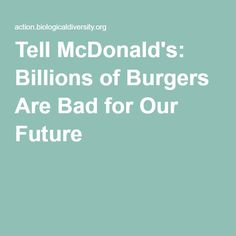 Tell McDonald's: Billions of Burgers Are Bad for Our Future