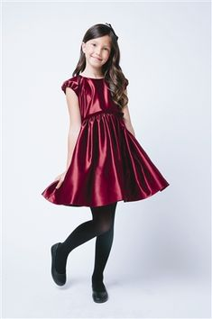 Love this Burgundy Classic Satin Holiday Dress - Kids & Tween on Girly Girl Outfits, Cute Girl Dresses, Cute Outfits, Mermaid Dresses, Flower Dresses, Satin Dresses, Young Girl Fashion, Tween Fashion, Little Girl Models