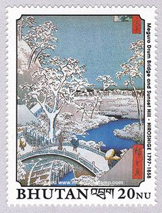 Yuhi Hill and the Drum Bridge at Meguro of the series 100 view of Edo by Hiroshige stamp issued by Bhutan 1990