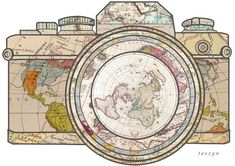 Travel dibujos 'Travel' Sticker by taszyn Travel Sticker, Illustrator, Laptop Stickers, I Tattoo, Tattoo Drawings, Tatting, Vintage World Maps, Vintage Map Decor, Creations