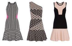 Vestidos da dir. pra esq.: alça fina (R$ 229), ombro único (R$ 299) e com recortes (R$ 279)