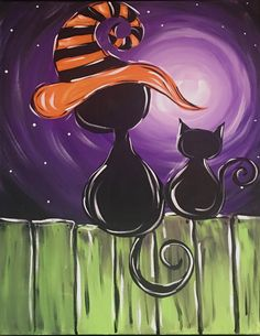 Halloween Canvas Paintings, Fall Canvas Painting, Basic Painting, Canvas Painting Tutorials, Halloween Painting, Theme Halloween, Autumn Painting, Diy Canvas Art, Easy Halloween