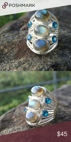 Laborardite and Swiss blue topaz ring Labradorite and Swiss blue topaz set in handcrafted Artisan 925 sterling silver, 2.75 inches long,  size 10 Robin's Nest Jewels  Jewelry Rings