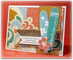 Card created by Tamytha Jenkins of www.paperheartist.com, using Close To My Heart Surf's Up paper and CTMH Tropical Paradise stamp set.