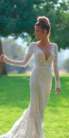 sexy wedding dresses ideas sheath deep v neckline long sleeves lace berta 3 #laceweddingdresses
