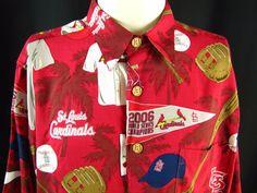 Reyn Spooner Mens St Louis Cardinals Vntg Hawaiian Shirt 2006 World Series MLB L #ReynSpooner #StLouisCardinals