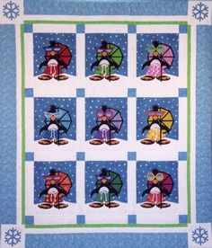 Penguin Paradise Quilt Pattern includes full-size patterns, placement sheet, and instructions to make this nine-block x quilt. The technique is fusible applique. Baby Girl Quilts, Girls Quilts, Quilt Baby, Quilt Block Patterns, Quilt Blocks, Bright Quilts, Penguin Art, Bird Quilt, Quilted Throw Blanket