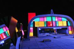 green design, eco design, sustainable design, Le Corbusier, Cite Radieuse, Defini Fini Infini, MaMo Contemporary Art, colored glass installation, Marseille, rooftop art installation