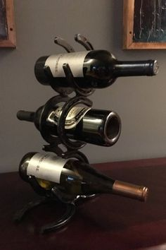 Horseshoe  wine rack 3 bottle by HILLBILLYSTUDIOS on Etsy