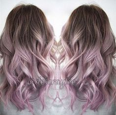 Nice smoky pink ombre balayage hairstyle idea for brown hair girls