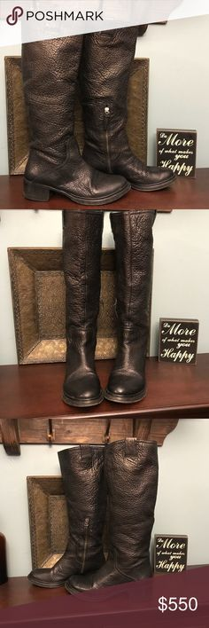 Miu Miu leather boots (byMiuccia Prada) These are made by Miuccia Prada. Authentic boots. Please note there is a small chip on one heel noted in last pic. These are metallic black leather. Gently worn. These boots are made to last!! Miu Miu Shoes Winter & Rain Boots