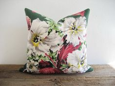 Barkcloth & Ticking Pillow Cover Tropical by theCottageWorkroom