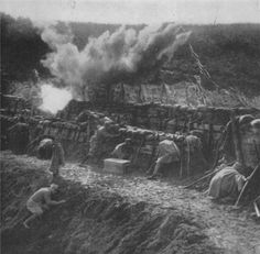WW1. A shell bombardment on an Italian entrenchment.