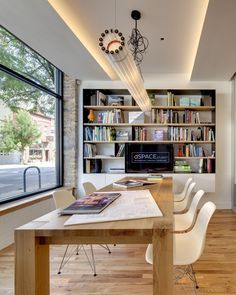 Meeting room with bookcase