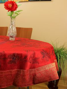 Cute red hand painted tablecloth to decorate your round table for you and your love on Valentine's day for a romantic dinner at home!