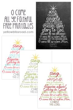 Free Christmas Printables - Color versions of O Come All Ye Faithful