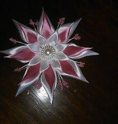 Bricoart.kam: créer tout en préservant la planète: DIY/MK/Tutorial/Kanzashi flower white&rose