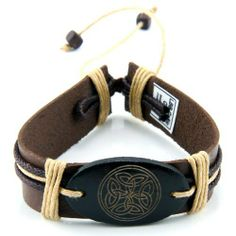 Leather Bracelet with Celtic Circle JewelVolt. $4.50