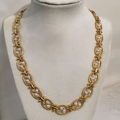 Vintage Signed LR Lady Remington F Pearl Link Chain Necklace Gold Tone Costume Jewelry by JewelryGeeks on Etsy https://www.etsy.com/listing/258472260/vintage-signed-lr-lady-remington-f-pearl