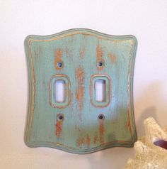 Shabby chic turquoise double wooden light switch by ShabbyShores