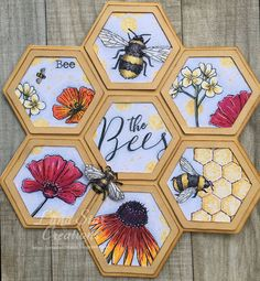 Honeycomb Card using the Bee Friendly Stamp set by Hobby Art Ltd - Hobby Art Stamps - Top Kreative Hobby-Ideen Handmade Tags, Handmade Birthday Cards, Sunflower Cards, Bee Embroidery, Bee Cards, Bee Friendly, Animal Cards, Pretty Cards, Cool Cards