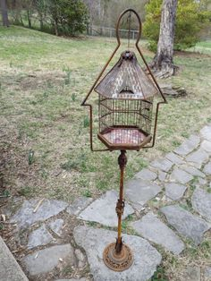 ANTIQUE VICTORIAN BIRDCAGE AND STAND