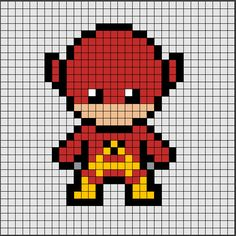 Patrón de Hama Beads Midi de Flash, el superhéroe más rápido de DC ⚡⚡.  Si quieres saber como se hace, ya sea en Hama Beads o Pixel Hobby, haz click en el enlace. Fuse Bead Patterns, Perler Patterns, Beading Patterns, Pixel Art Templates, Perler Bead Templates, Pixel Pattern, Pattern Art, Pixel Art Super Heros, Image Pixel Art