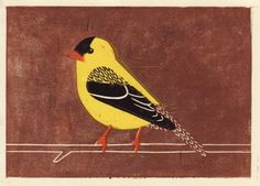 Finch: AMERICAN GOLDFINCH hand-pulled linocut wood block art oil paint print, yellow, brown, black, 7 x 5 branch, orange