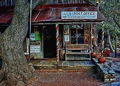 """""""Luckenbach TX Painted"""" by Judy Vincent. Painted look achieved with Topaz Glow.  Photo of the ever famous post office/general store/bar in Luckenbach, Texas, United States of America. Everyone should make a trip out to this wonderful place at least once in their lifetime. Luckenbach is a very small town located 13 miles from Fredericksburg, TX."""