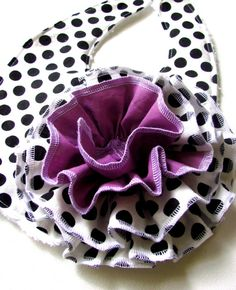 lilac and black and white chenille bib