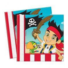 Serwetki papierowe dla dzieci na urodziny z motywem z bajki Jake i piraci z Nibylandii.