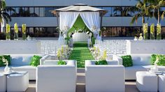 The Westin South Coast Plaza, Costa Mesa | Weddings, Terrace Gazebo, wedding ceremony, outdoor ceremony, Orange County wedding, green and white, draping, floral arrangements, wedding decor, #thewestinscp #twscp #westinweddings #southcoastplaza #thewestin