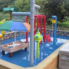 Custom made residential waterpark-email glendoranj@hotmail.com for more info  Waterpark includes over 50 water features, water slides, dump bucket, water cannons, kiddie section