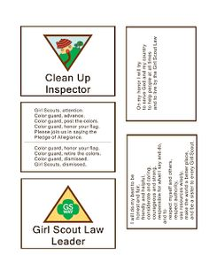 Girl Scout Printables: Kaper Badges, Flag Ceremony, GS Law & Promise