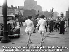 Two women, who wear shorts in public for the first time