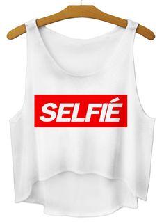 White Sleeveless SELFIE Print Dipped Hem Vest