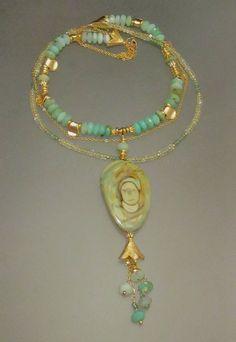 Imperial Jasper Focal, Peruvian Blue Opal, Yellow and Green Quartz with 24k over brass